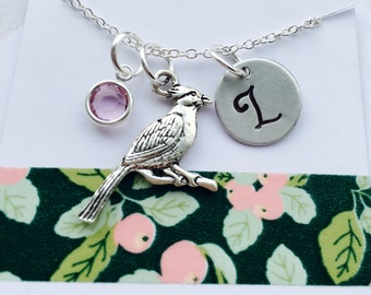 Cardinal Necklace, Cardinal Monogram Necklace, Cardinal Jewelry, Initial Necklace with Cardinal Charm, Animal Jewelry