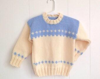 4 years - Kids hand knit sweater - Girls sweater - Boys sweater - Childs yellow blue sweater - Children's knits