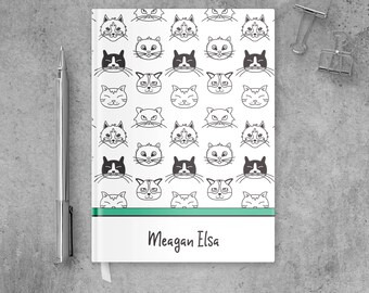 Cat Journal and Notebooks Personalized Kids Gift, Cat Notebook Custom Stationery Kids, Cat Diary Kids Notebook Covers, Cat Person Gifts