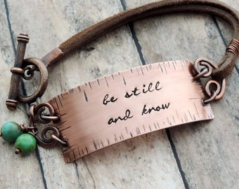 Be Still and Know Bracelet - Christian Bracelet - Bible Verse Bracelet - Christian Jewelry - Scripture Jewelry - Psalm 46 - Leather Bracelet