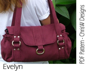 """IHandbag sewing pattern - PDF- """"Evelyn"""" Floral purse with lots of pockets, make it yourself"""