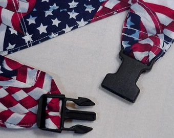 Patriotic Cooling Collar, Dog Stay Cool Cotton Neck Cooler Bandana Wrap, Gel Pet Band Adjustable Buckle Sz Medium fits 14 - 18 inch iycbrand