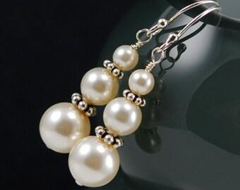 Cream Pearl Earrings, Bridesmaid Earrings, Swarovski Crystal Pearl Earrings, Sterling Silver, Graduated Stack Stacked Earrings Dangle Drop