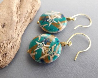 Dark Turquoise Ceramic And Earrings