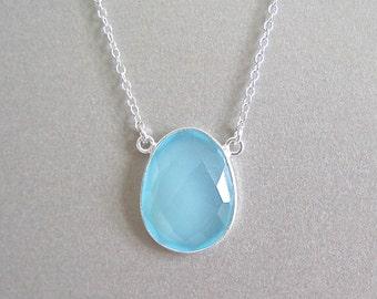 Silver Aqua Chalcedony Pendant Necklace - Aqua Chalcedony - Silver Pendant