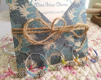 Wine Glass Charms - Add a touch of class to your glass!  Wine Glass Tags to customize your wine glasses for parties, Wine Gift, Party Favors