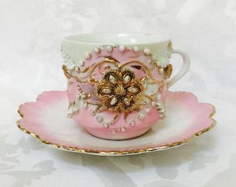 Antike Porzellan große rosa Gold-Kaffee-Tee-Tasse und Blütenblatt Untertasse seltene und einzigartige 1800er Jahren Deutschland Gold Floral Cafe ziemlich
