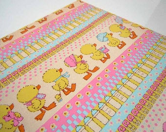 Vintage New Baby Wrapping Paper Congratulations Baby Shower Baby Ducks Bottles Safety Pins Gift Wrap