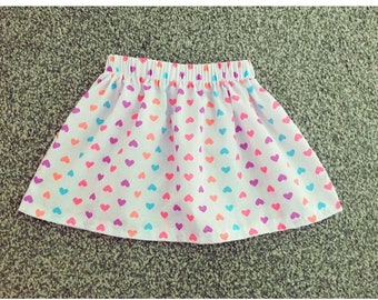 Heart Skirt  / Elasticated waistband / Breathable Cotton / Colourful / Lace / Girly