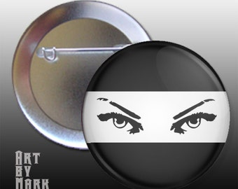 Lady Ninja Chick Black And White Pin back Button