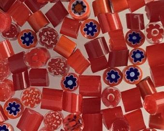 SALE!!!-Murano Glass - Murrini  chips COE 104 - Millefiori slice - flowers pattern- Opaque and transparent murrini mixed - fusing- glass art
