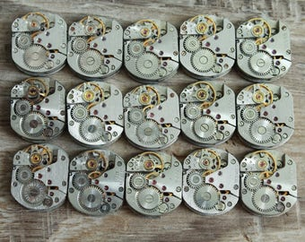 """lot of 15 watch movements  0.6 """" x 0.5 """" / jewelry supplies / Steampunk supplies /  Watch movements for art / Vintage / Steampunk Findings"""