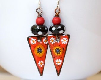 Flower Earrings, Enamel Copper Earrings, Red Earrings, Polka Dot Earrings, Boho Hippie Earrings, Triangle Earrings,