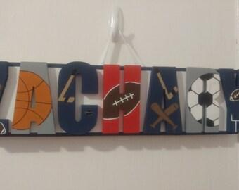 Custom Personalized Sports Name Plaque - Boys Name Sign - Boys Sports Decor
