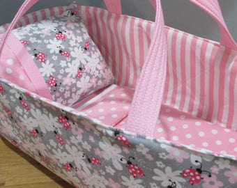 Doll Carrier, Will Fit Bitty Baby and Stella Dolls, Flowers and Lady Bugs with Pink Lining, 16 Inches Long, Doll Basket