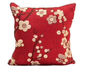 designer pillow cover, cherry blossom design, red decorative pillow, throw pillow cover, accent pillow