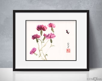 Purple Carnations - sumi-e watercolor painting - 8x10 (Print)