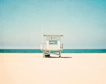 5th Street, Hermosa Beach California, Beach Photography, Lifeguard Tower, California, Coastal Wall Art, Teal Green Blue