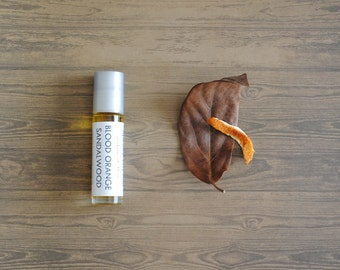 Blood Orange Sandalwood Perfume Oil, Roll On Perfume Citrus Musk Woodsy Fragrance Vegan
