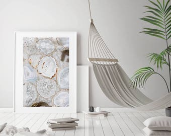 Mineral Photography - (Print # 006)   - White Agate Slices -  Fine Art Print - Two Paper Choices- Mineral Geode Agate Crystal Decor