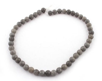 Memorial Day 1 Strands Long Gray Moonstone Faceted Round Ball Bead - Gray Moonstone Beads 8mm 14 Inches SB4745