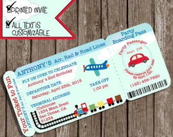 Boarding Pass Invitations, Planes trains automobiles, Planes Trains and Automobiles Invitations, Planes Trains Automobiles party