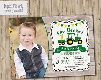 John Deere Tractor Birthday Invitation, Photo Wood birthday, Green Tractor, John Deere Birthday, Boy Birthday Invitation