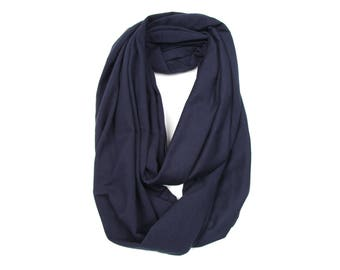 Infinity Scarf, Blue Circle Scarf, Navy Blue Scarf, Blue Scarf, Dark Blue Infinity Scarf, Boyfriend Gift, Soft Jersey Cotton Scarf