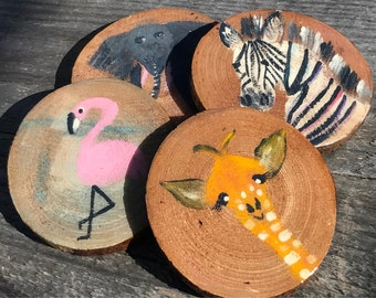 Set of 4 Animal Coasters, Rustic Wood coasters, Hand painted Animal, Giraffe coaster, Zebra coaster, Flamingo coaster, Elephant coaster