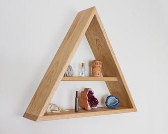 Solid Oak Shelf - Triangle Shelf - Solid Oak - Geometric - Wall Shelf - Wall Decor - Floating Shelf - Shelves - Display Shelf - Wooden Shelf