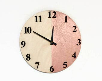Wall Clock,  Wood Wall Clocks, Rose Gold Home Decor,  Home and Living