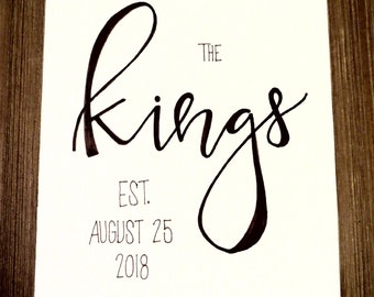 Personalized Last Name with Wedding Date, 8x10 (Hand-lettered with permanent marker)