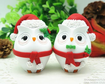 Christmas Wedding Cake Toppers,Personalised Owl Wedding Cake Toppers Christmas Theme Free Shipping