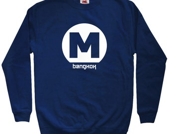 Bangkok Metro Sweatshirt - Men S M L XL 2x 3x - Crewneck, Thailand Shirt, Thai, Travel, Subway - 4 Colors