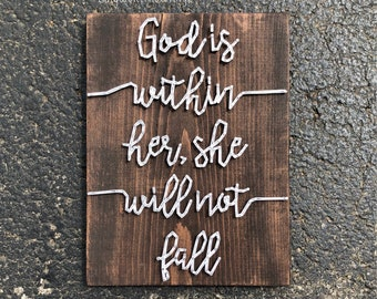 """MADE TO ORDER """"God is Within Her..."""" bible verse String Art Sign"""