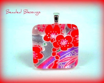 Chiyogami Fire Flowers  Glass Tile Flower Pendant