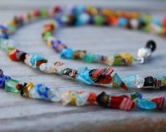 Eyeglass Holder, Colorful Beaded Eyeglass Chain, Millefiori Reading Glasses Lanyard,  Chain for Glasses Holder, Handmade Birthday Gift Idea