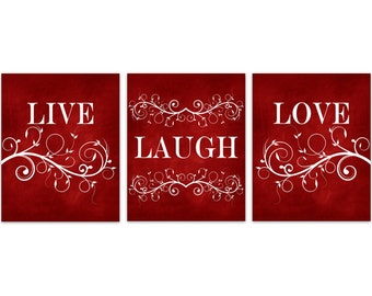 Live Laugh Love CANVAS, Red Wall Art, Burgundy Home Decor, Bathroom Wall Decor, Bedroom Wall Art, Nursery Wall Art, Wall Hangings - HOME198