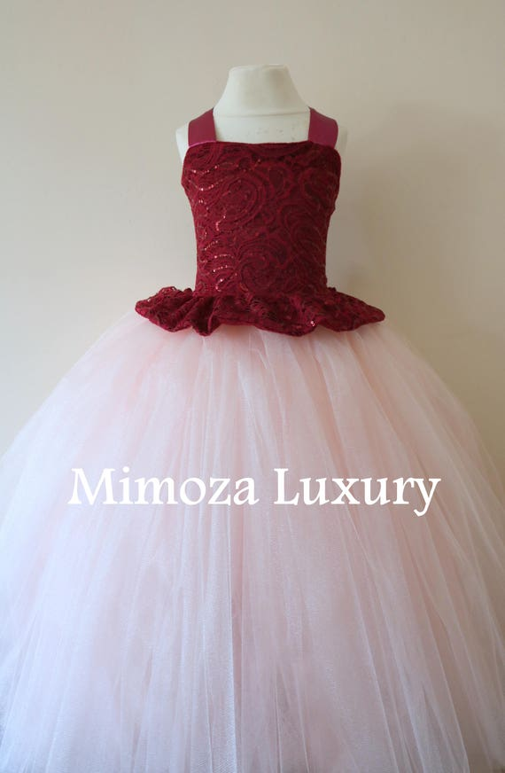Burgundy Flower Girl Dress, burgundy bridesmaid dress, couture flower girl gown, bespoke girls dress, tulle princess dress, blush tutu