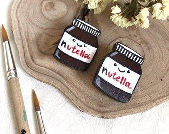 """Wooden brooch """"Nutella"""""""