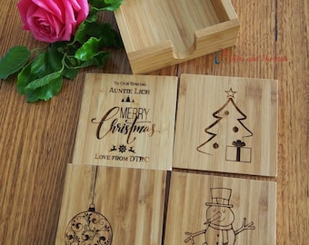 FREE DELIVERY-Personalised Bamboo Engraved Coasters with Holder, Square Shape - Set of 4 - Christmas gift - Gift for Mum - Gift for everyone