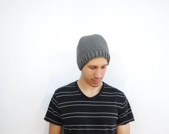 Mens Crochet Hat. Mens Gray Beanie. Fitted Beanie Hat. Knit Grey Hat. Mens Fall Fashion. Winter Accessories. Mens Fitted Hat. Gray Hat.