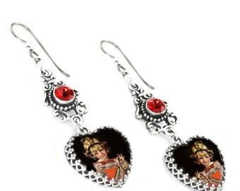 Silver Valentine Earrings - Heart Earrings - Valentines Day Gift - Ruby Crystal Earrings - Picture Earrings - Drop Earrings