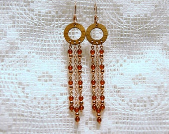 """Amber and Copper with Wood Chandelier Long Dangle Earrings--""""A Taste of Honey"""""""