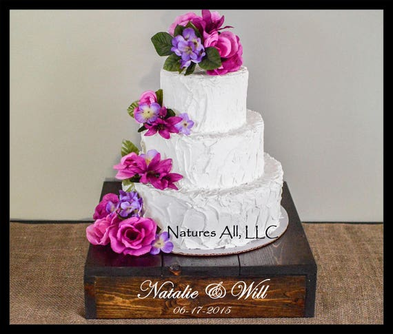 """14"""" Rustic Wedding Cake Stand/Personalized Option/Dark Walnut/Country Wedding Cake Stand/Rustic Cake Stand"""