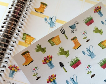 Gardening Stickers, Summer Stickers, Perfect For Erin Condren Planners, Stickers, Planner Stickers