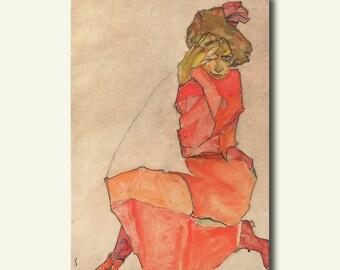 Egon Schiele Print Kneeling Female in Orange-Red Dress 1910 - Fine Art Print Giclee Prints Schiele Poster Reproduction
