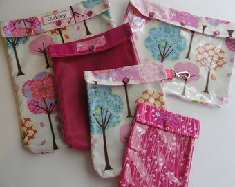CLEARANCE Pretty Trees Ouch Pouch 5 Set Clear Front Diaper Bag Hospital Organizers Totes First Aid Medication Case Carry On Girl Baby Gear