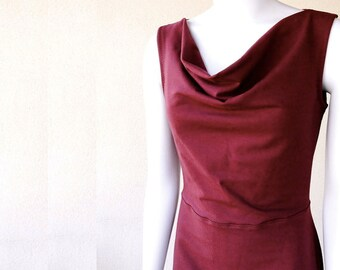 Draping neckline long dress