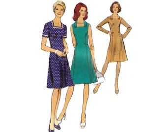 Style 4623, 70s sewing pattern, size 16 1/2 bust 39 women's dress pattern, business dress, square neckline